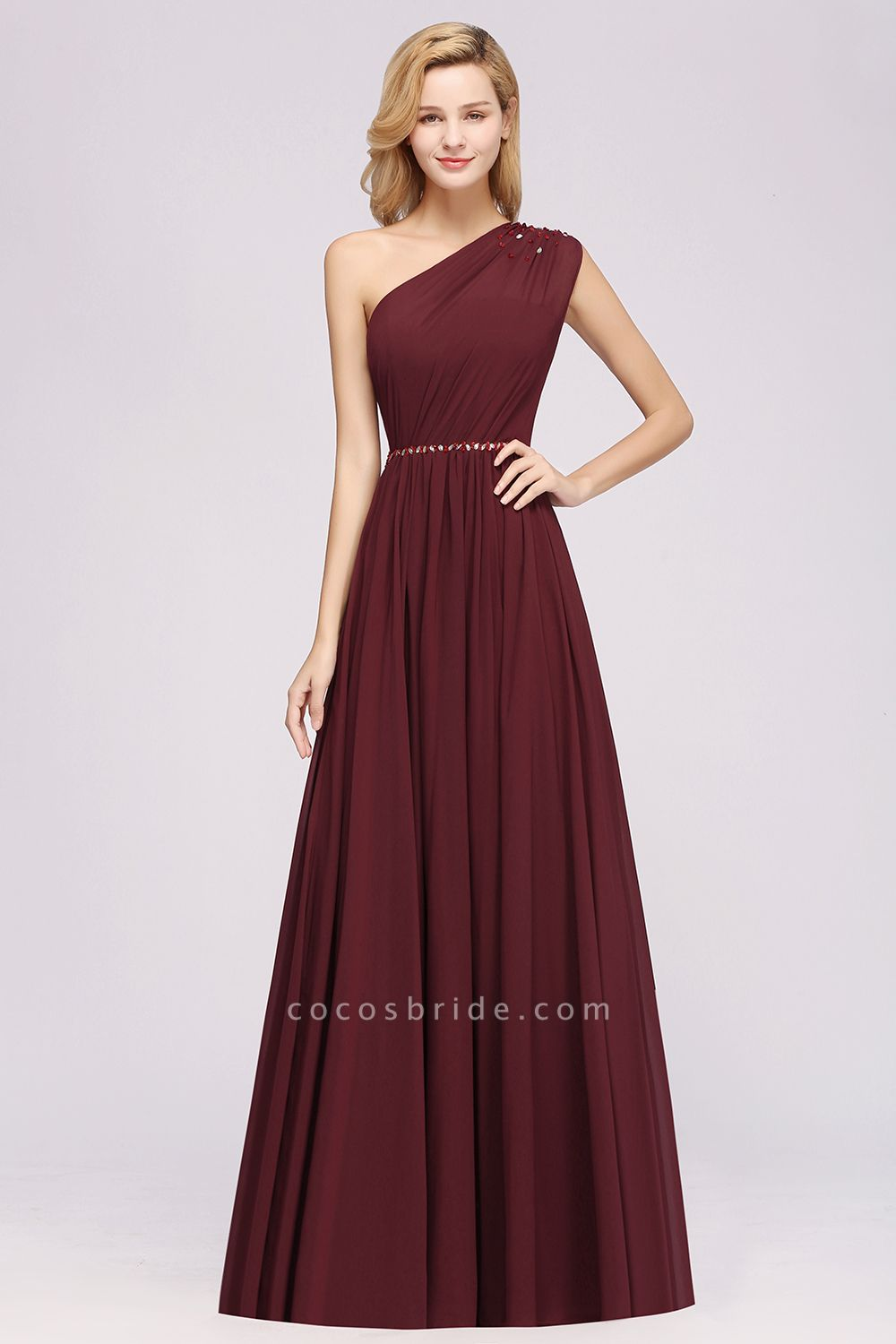 Elegant A-Line Burgundy Chiffon One-Shoulder Sleeveless Ruffles Floor-Length Bridesmaid Dresses with Beadings