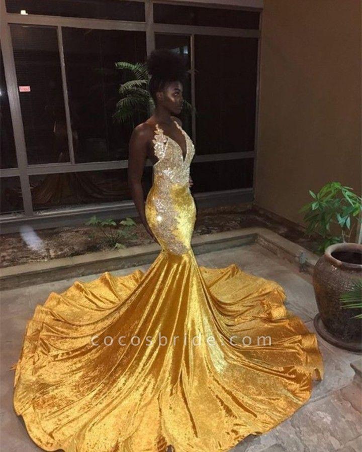 Graceful V-neck Appliques Mermaid Evening Dress