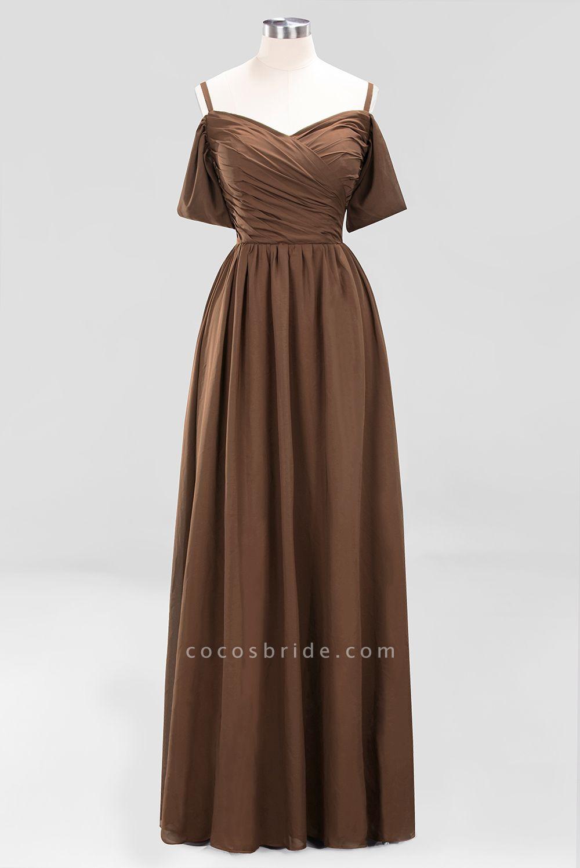 A-Line Chiffon V-Neck Spaghetti Straps Short-Sleeves Floor-Length Bridesmaid Dresses with Ruffles