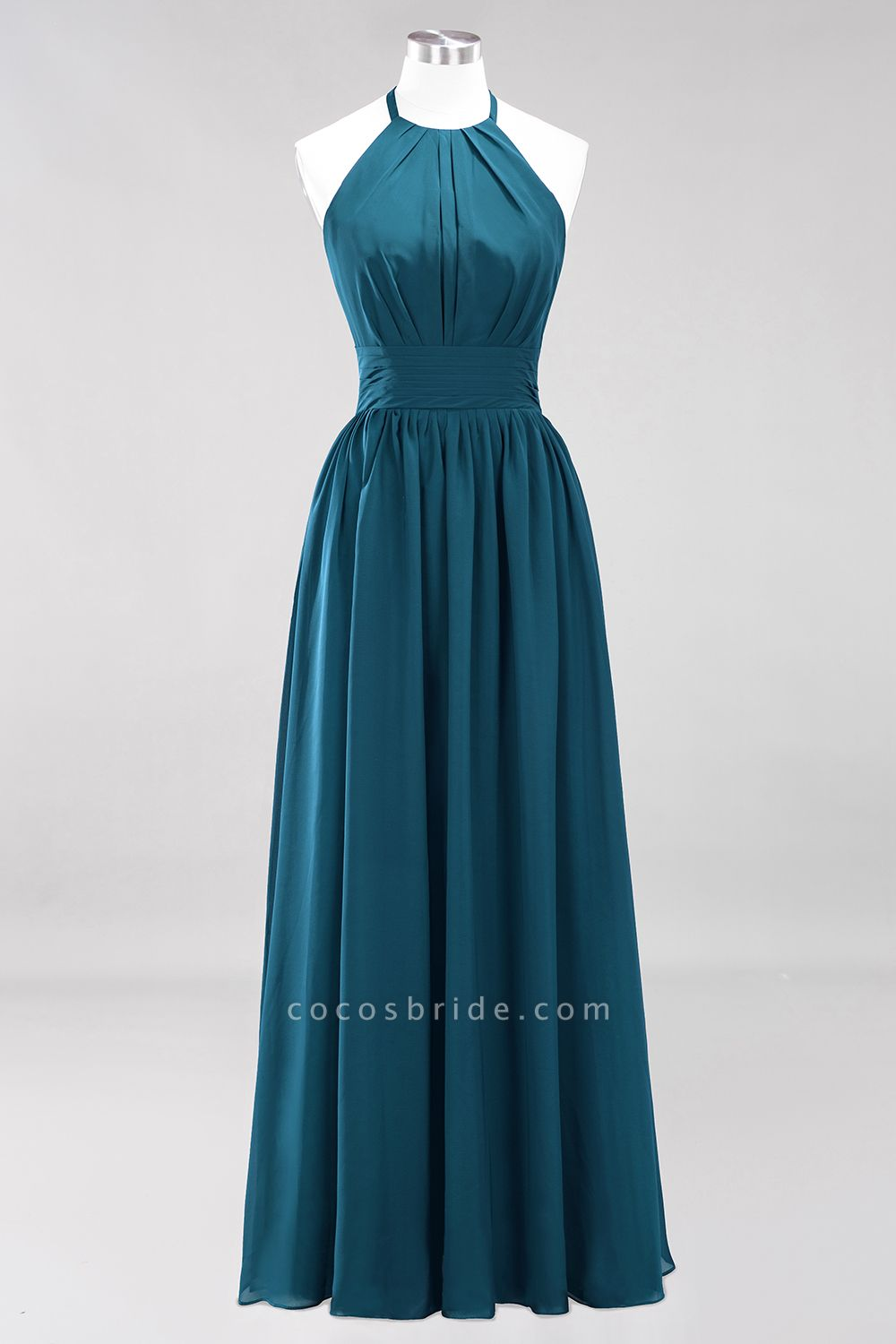 A-line Chiffon Appliques Halter Sleeveless Floor-Length Bridesmaid Dresses with Ruffles
