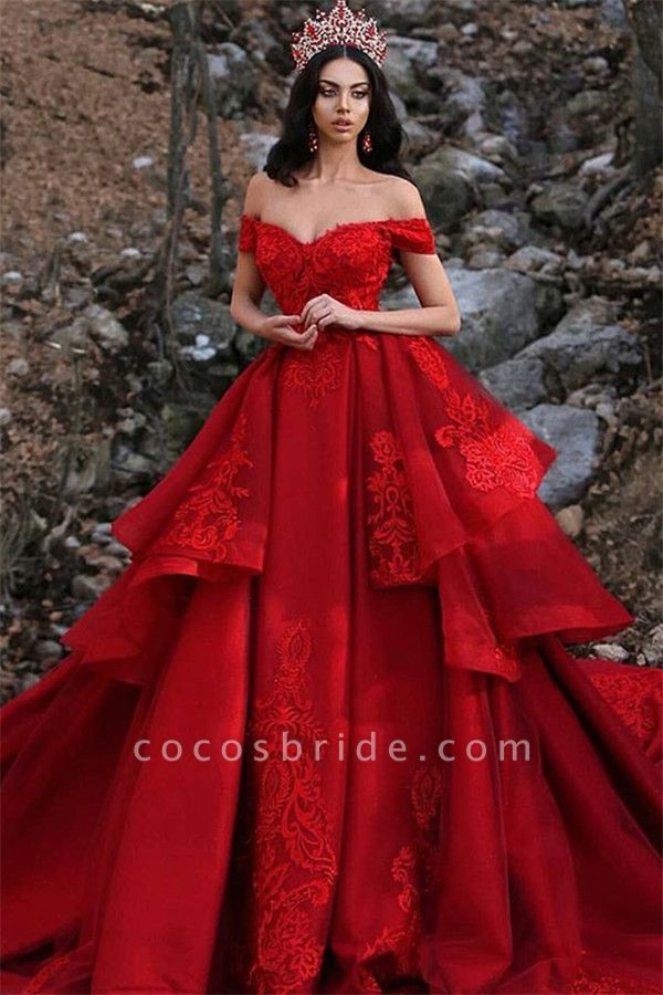 Fascinating Off-the-shoulder Satin Ball Gown Prom Dress