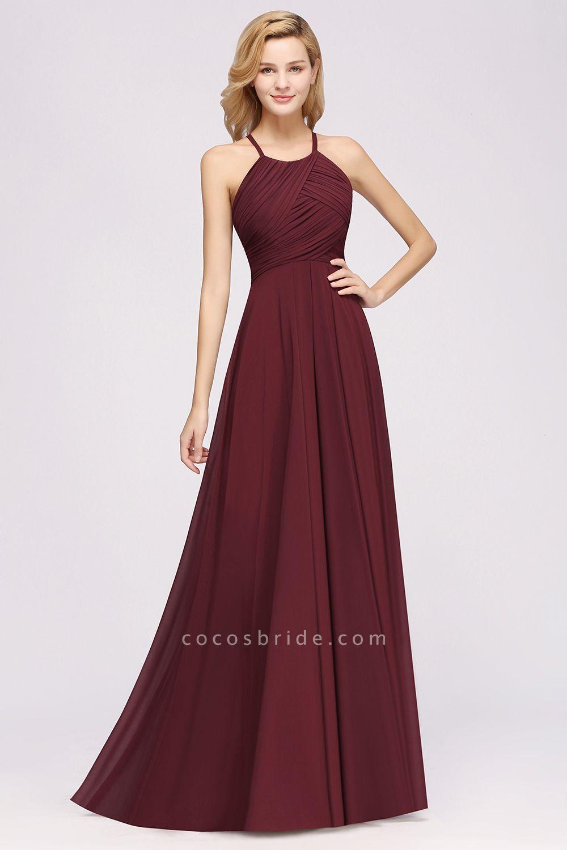 A-Line Chiffon Halter Ruffles Floor-Length Bridesmaid Dress