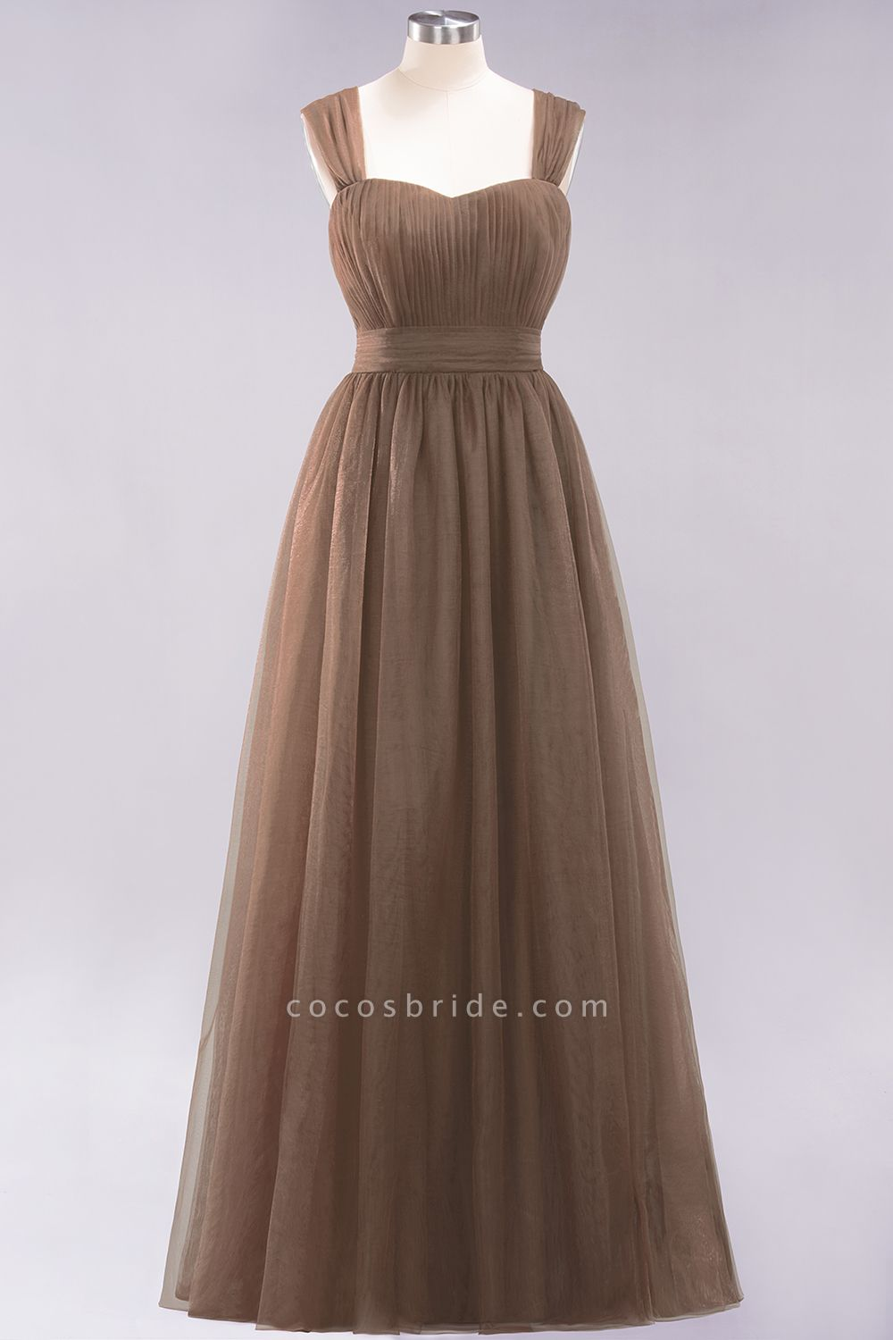 A-Line Chiffon Sweetheart Straps Sleeves Floor-Length Bridesmaid Dresses with Ruffles