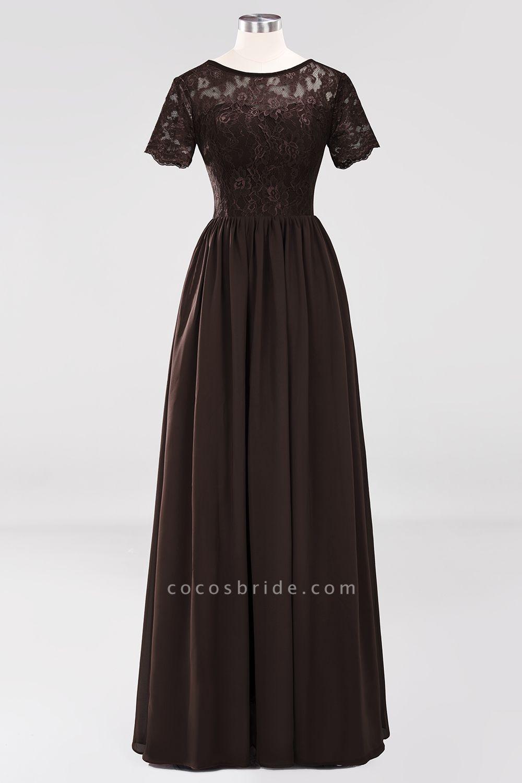 A-line Chiffon Lace Jewel Short-Sleeves Floor-length Bridesmaid Dress
