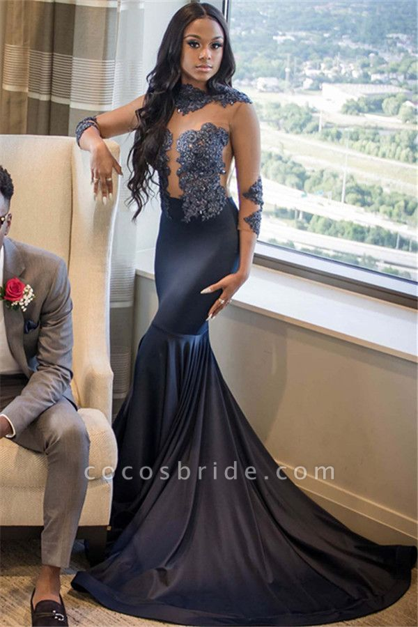 Glorious High Neck Elastic Silk-like Satin Mermaid Prom Dress