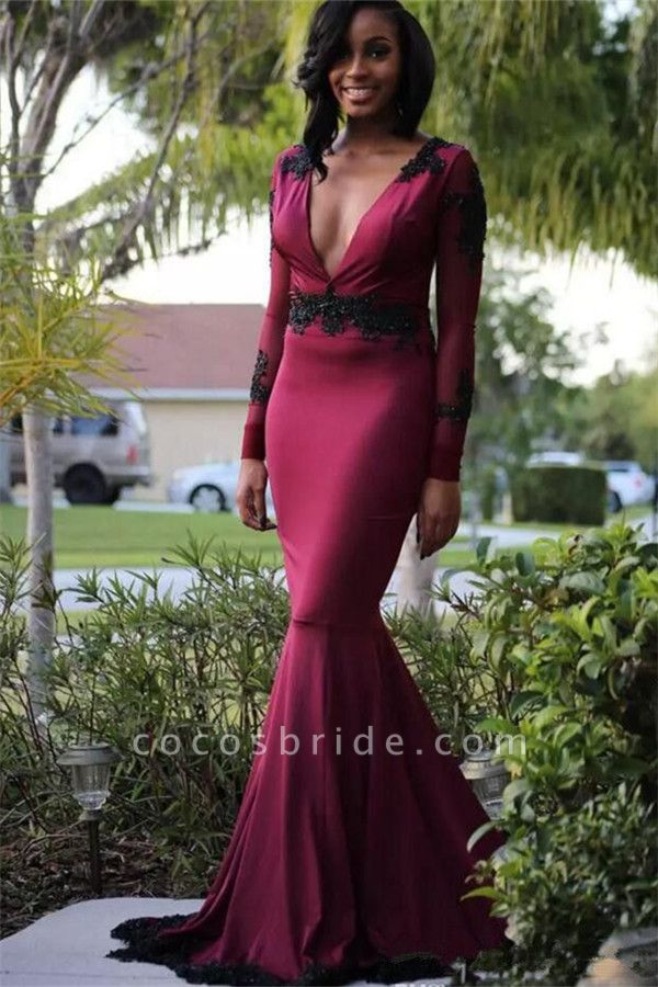 Wonderful V-neck Satin Mermaid Prom Dress