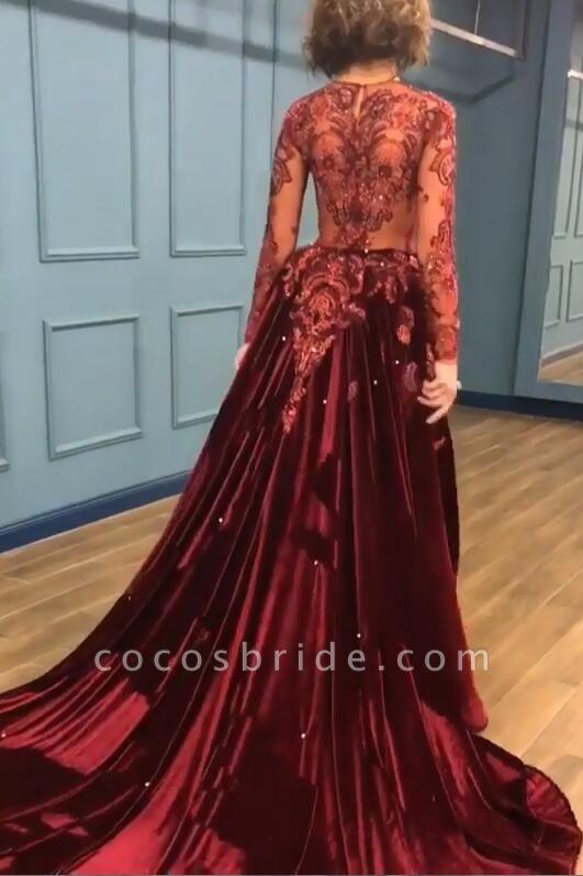Chic V-neck Appliques A-line Prom Dress