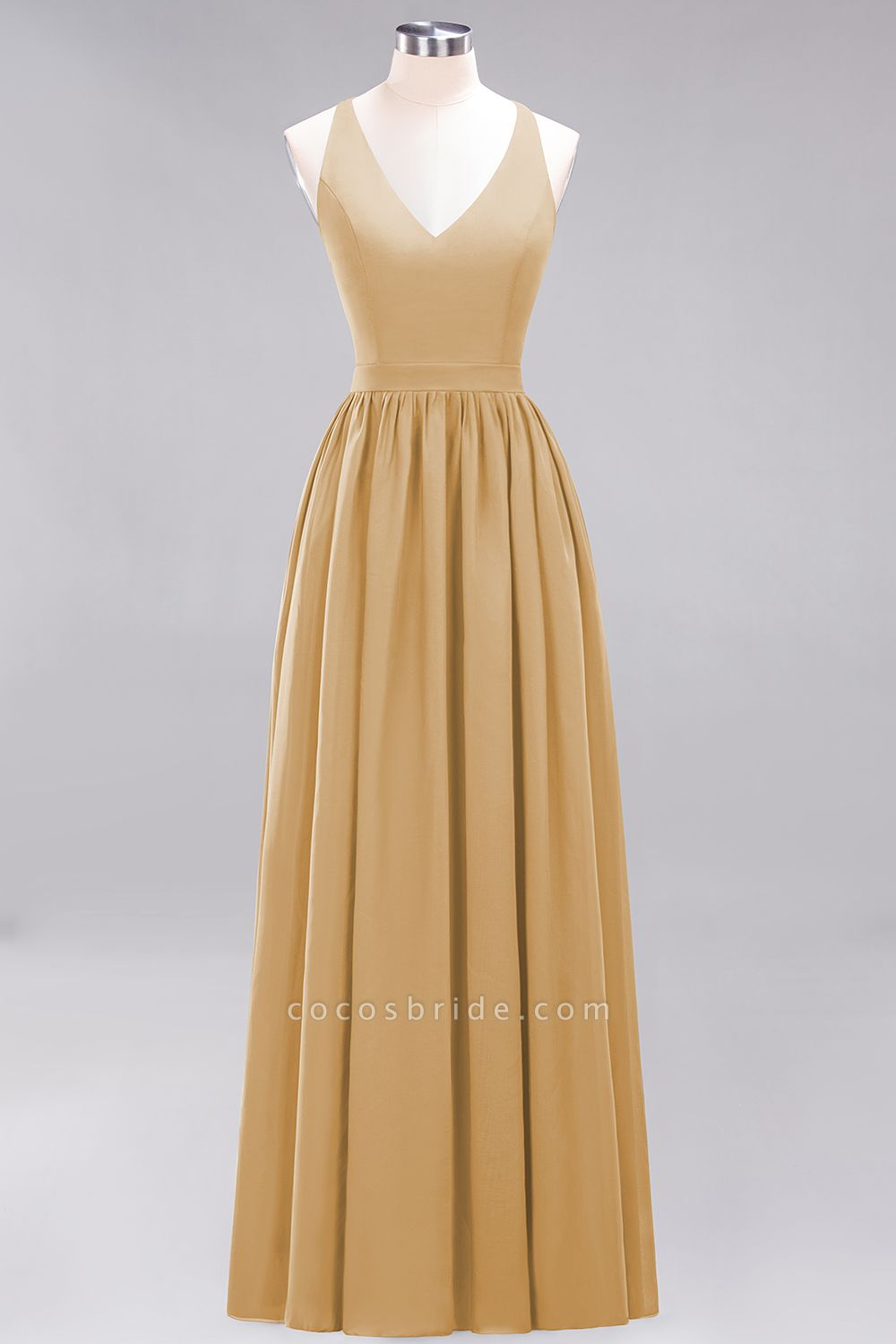BM0152 Chiffon Lace V-Neck Sleeveless Straps Floor Length Bridesmaid Dress