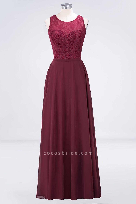 A-Line Chiffon Lace Jewel Sleeveless Hollowout Floor-Length Bridesmaid Dress