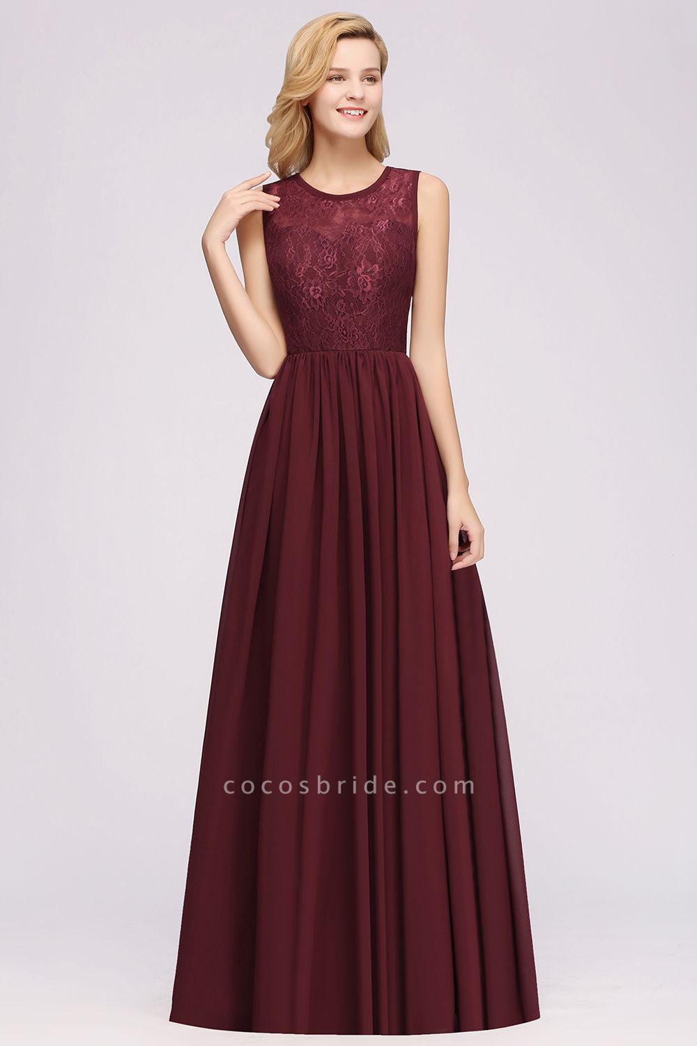 A-line Chiffon Lace Jewel Sleeveless Ruffles Floor-Length Bridesmaid Dresses with Appliques