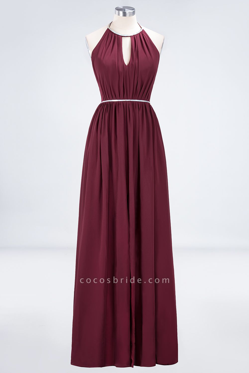 A-line Chiffon Halter Sleeveless Floor-Length Bridesmaid Dress with Beading Sash