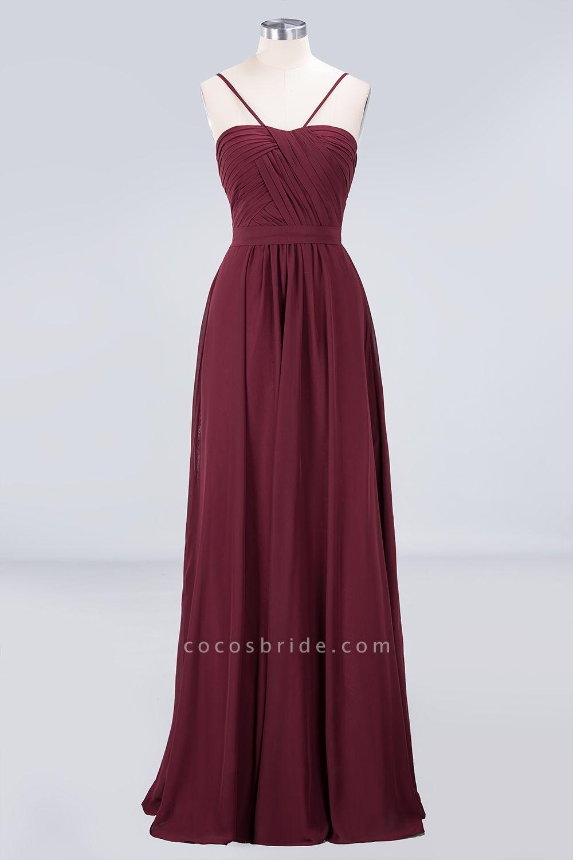 A-Line Chiffon Sweetheart Spaghetti-Straps Backless Floor-Length Bridesmaid Dress with Ruffles