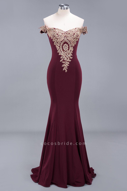 Charming Off-The-Shoulder Floor-Length Mermaid Appliques Zipper Bridesmaid Dress
