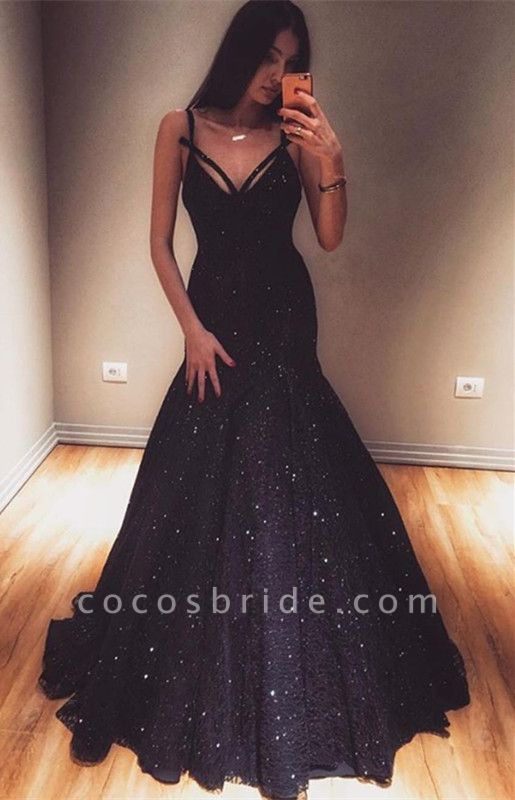 Marvelous Spaghetti Straps Sequined Mermaid Prom Dress