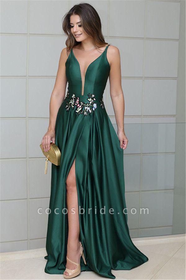 Latest V-neck Stretch Satin A-line Prom Dress