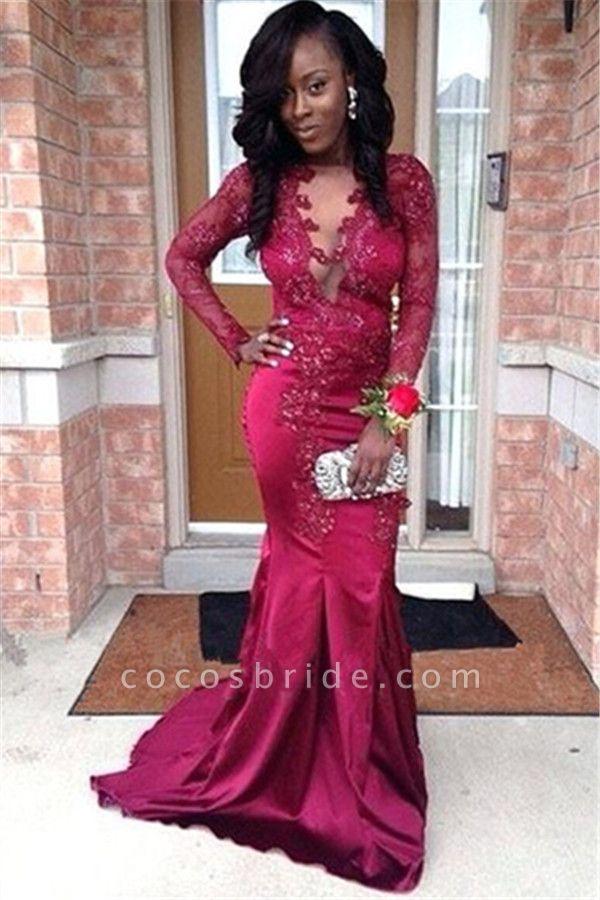 Graceful V-neck Stretch Satin Mermaid Prom Dress
