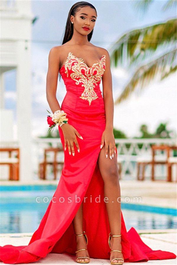 Excellent Strapless Stretch Satin Column Prom Dress