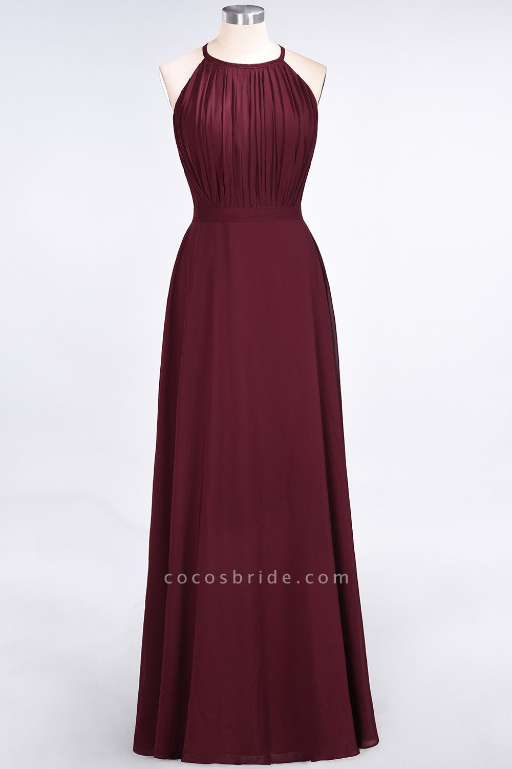 A-Line Chiffon Jewel Sleeveless Floor-Length Bridesmaid Dress with Ruffles