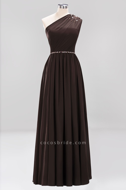 Elegant A-Line Burgundy Chiffon One-Shoulder Sleeveless Ruffles Floor-Length Bridesmaid Dresses with Beadings