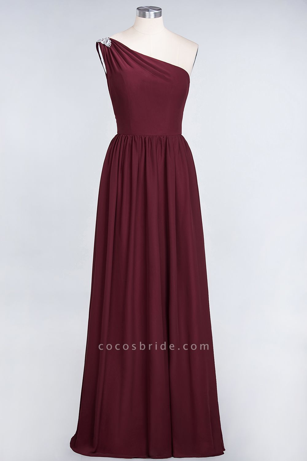 A-Line Chiffon One-Shoulder Sleeveless Ruffles Floor-Length Bridesmaid Dress with Beadings