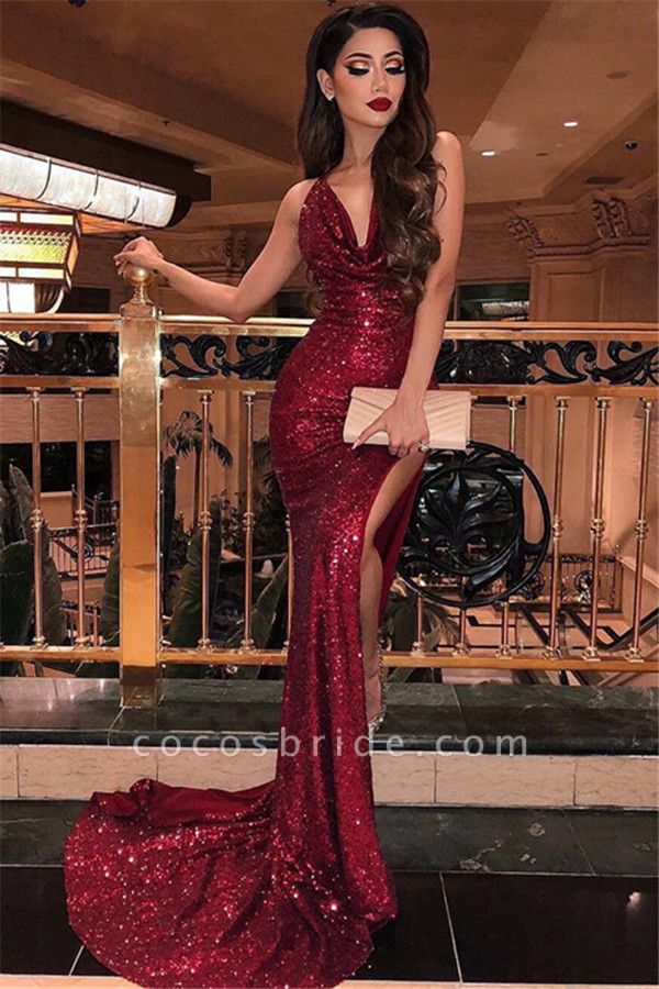 Affordable Halter Sequined Mermaid Prom Dress