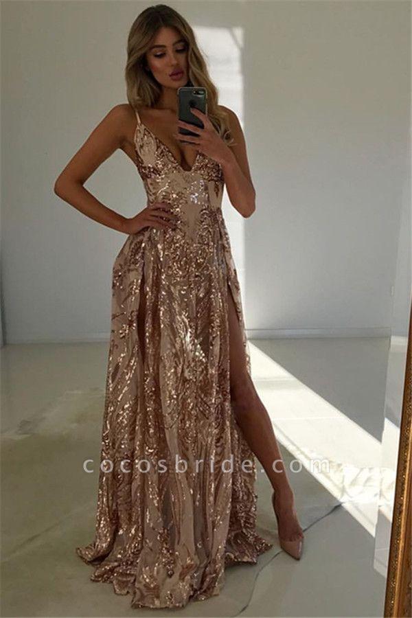 Modest V-neck Split Front A-line Prom Dress