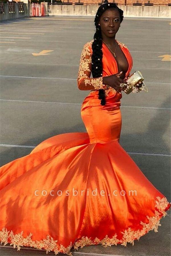 Elegant V-neck Appliques Mermaid Prom Dress