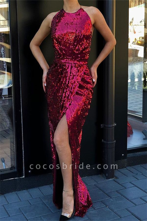 Attractive Halter Sequined Mermaid Prom Dress