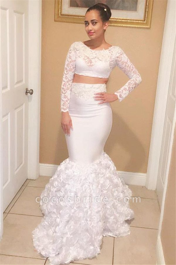 Eye-catching Scoop Appliques Two Pieces Prom Dress