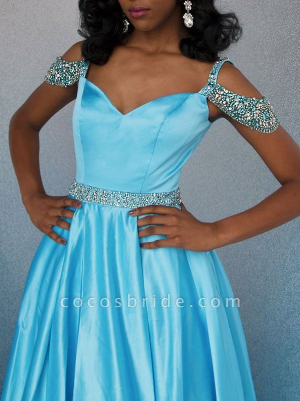 Affordable Off-the-shoulder Rhinestone A-line Prom Dress