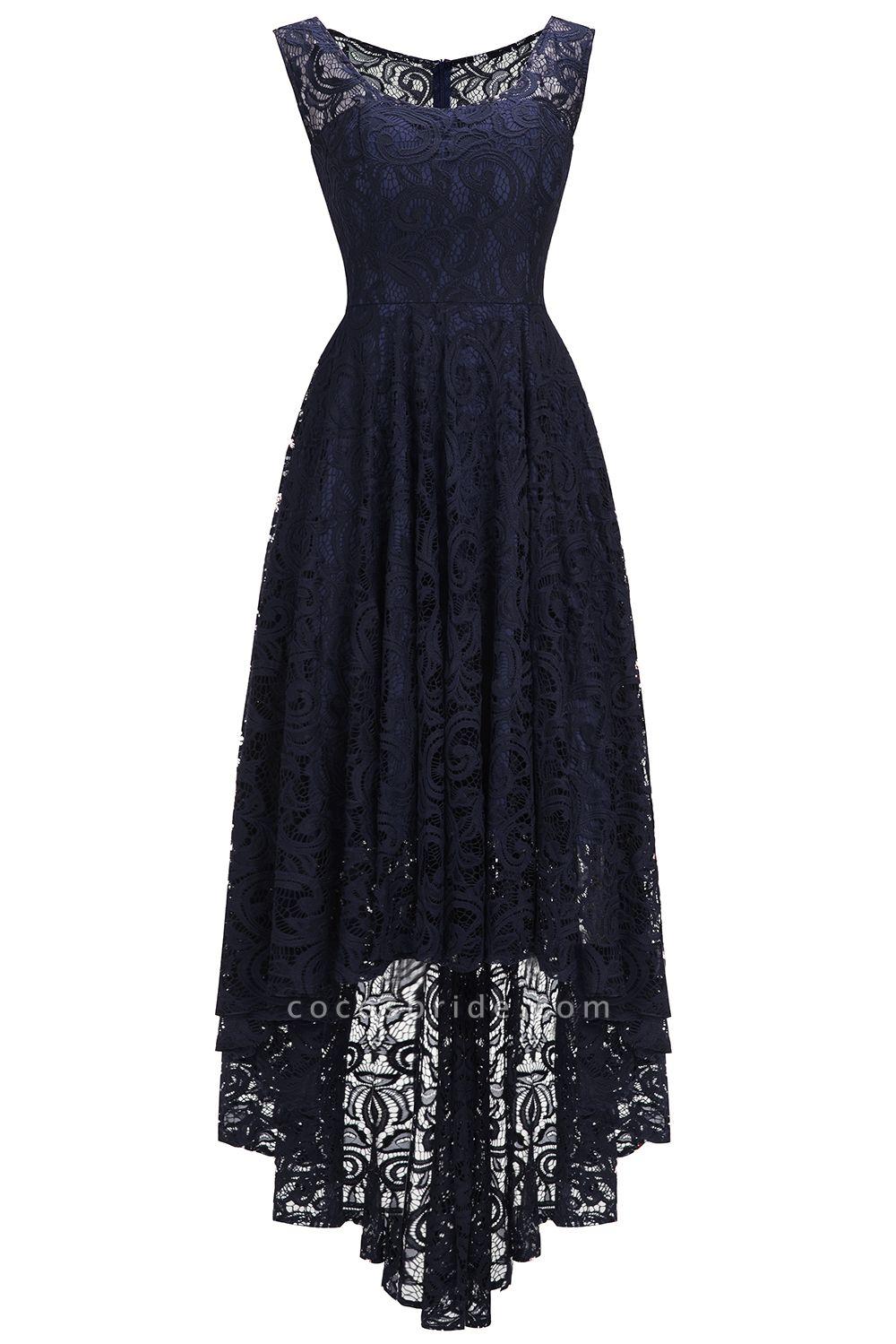 Elegant A-line Sleeveless Crew Hi-lo Lace Dress