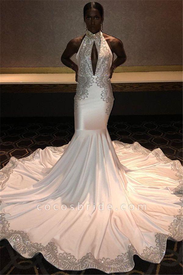 Chic Halter Appliques Mermaid Prom Dress