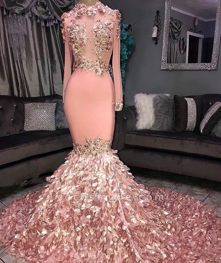 Excellent Jewel Flower(s) Mermaid Prom Dress