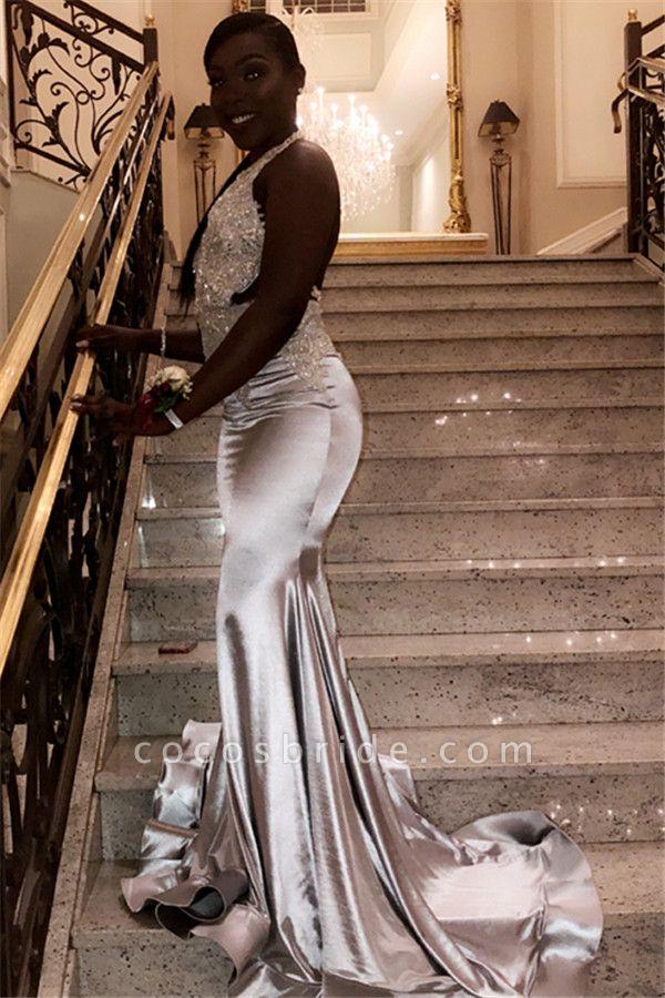 Glorious Halter Rhinestone Mermaid Prom Dress