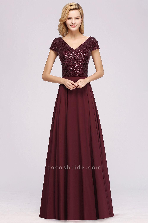 BM0156 A-Line Burgundy Chiffon Sequined V-Neck Sleeveless Ruffles Bridesmaid Dresses
