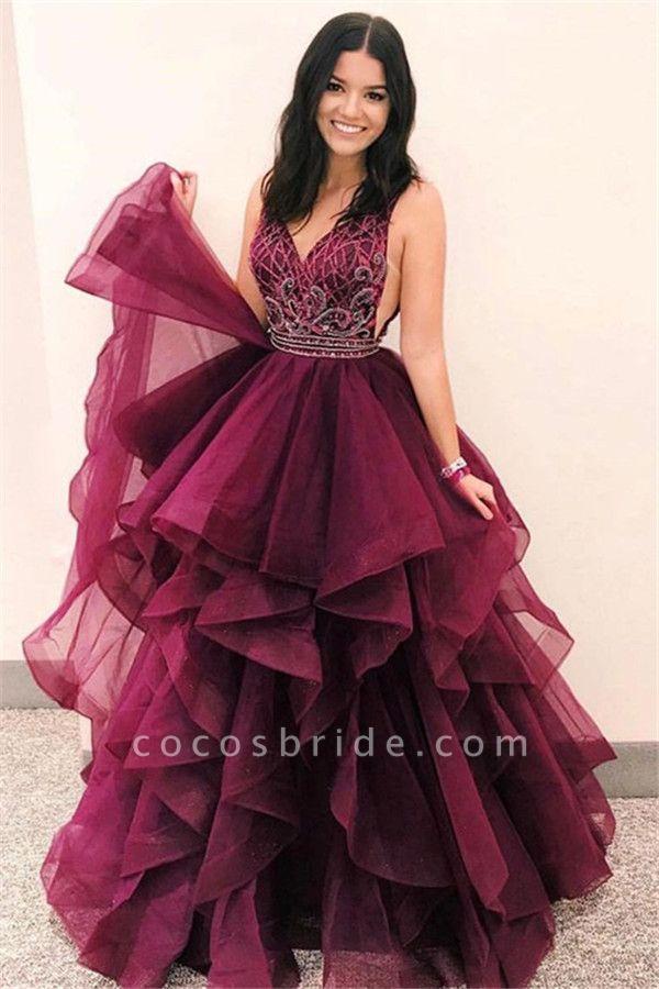 Wonderful V-neck Tulle A-line Prom Dress