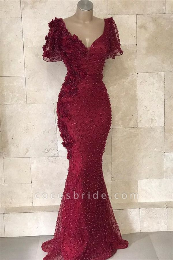 Chic V-neck Flower(s) Mermaid Prom Dress