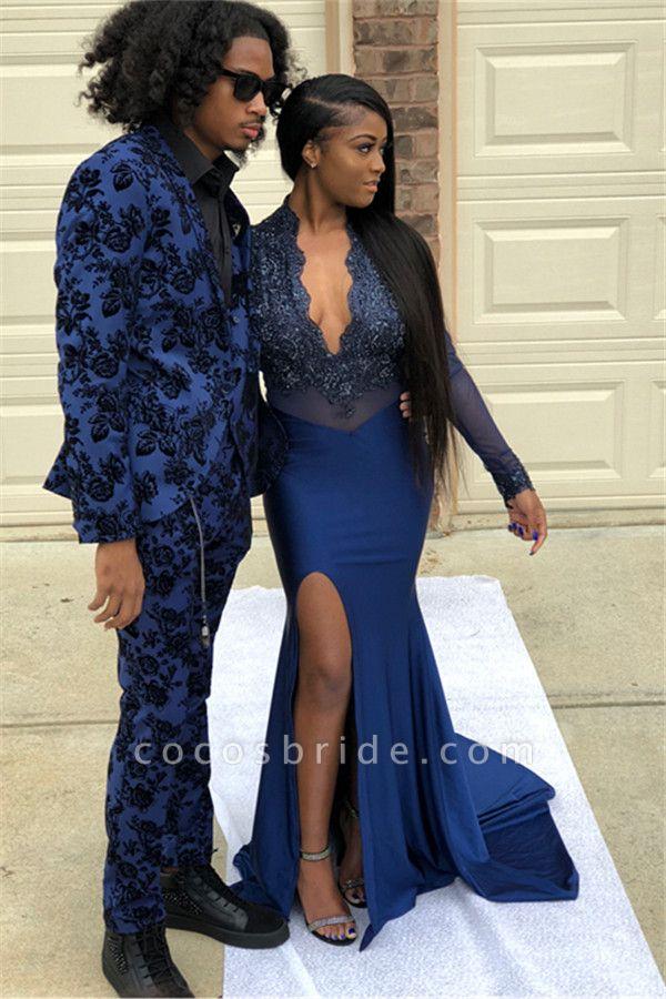 Precious V-neck Appliques Mermaid Prom Dress
