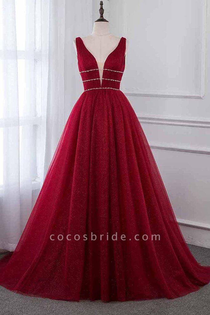 Attractive V-neck Tulle A-line Prom Dress