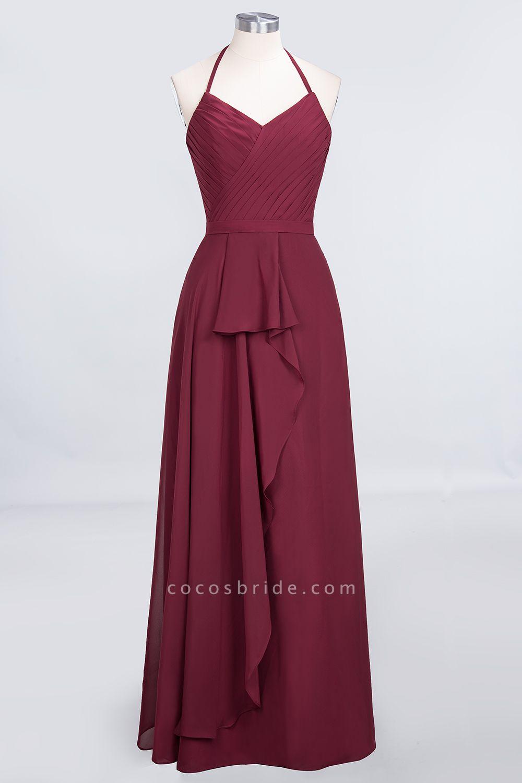 A-Line Chiffon Halter V-Neck Sleeveless Floor-Length Bridesmaid Dress with Ruffle