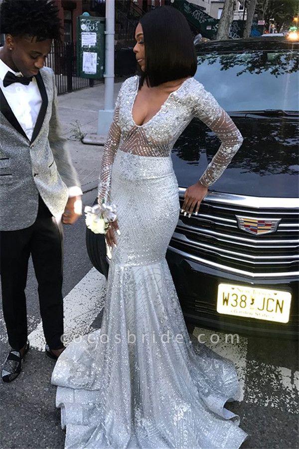 Beautiful V-neck Sequined Mermaid Prom Dress