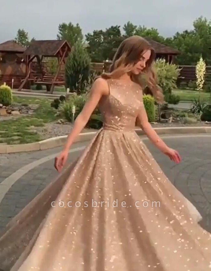 Eye-catching Jewel Sequined A-line Prom Dress