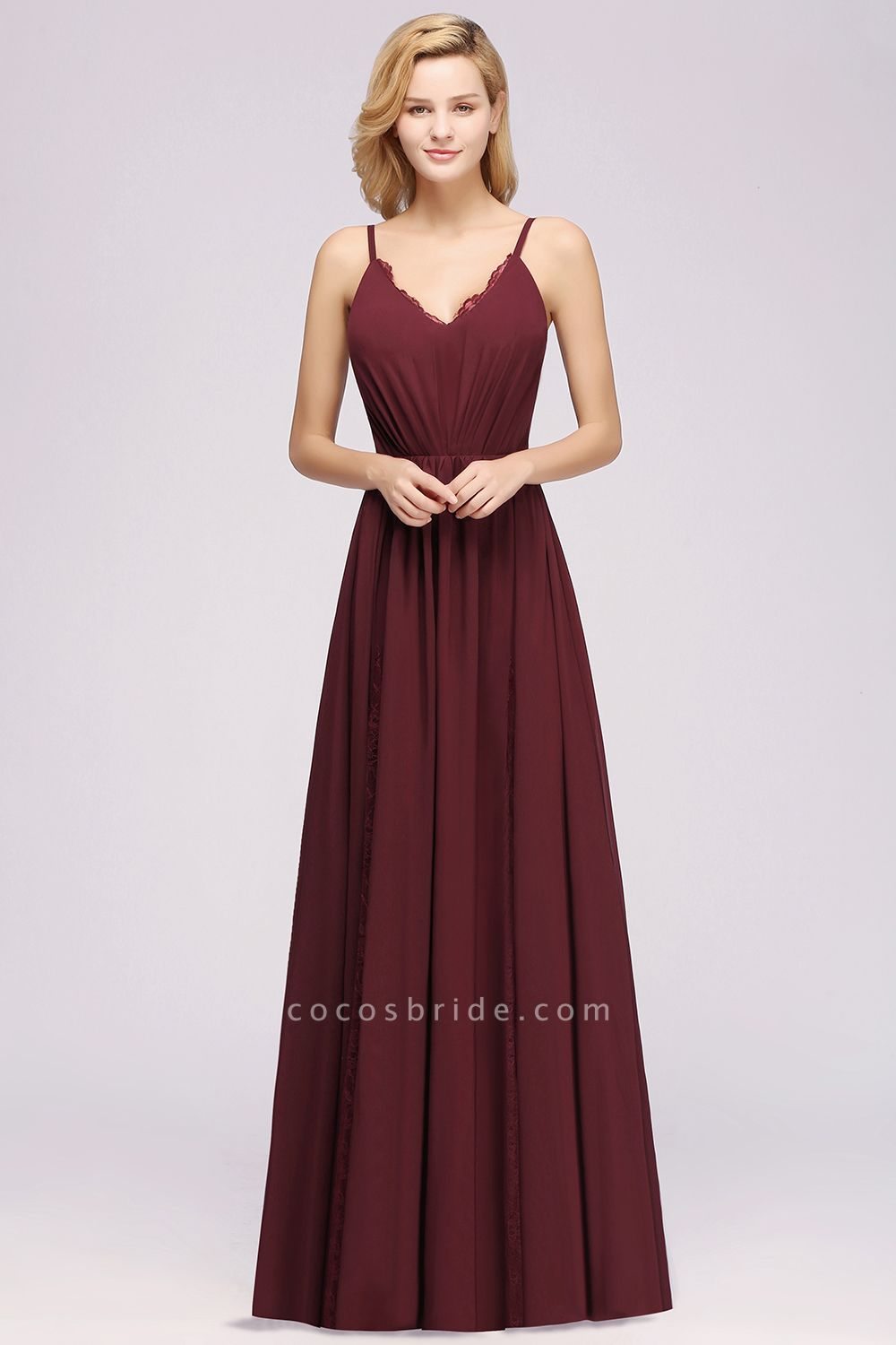 BM0213 A-Line Chiffon V-Neck Spaghetti Straps Long Bridesmaid Dress