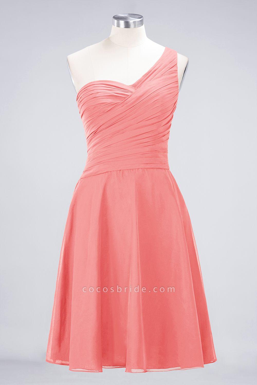 A-Line Chiffon One-Shoulder Sweetheart Sleeveless Knee-Length Bridesmaid Dress with Ruffles