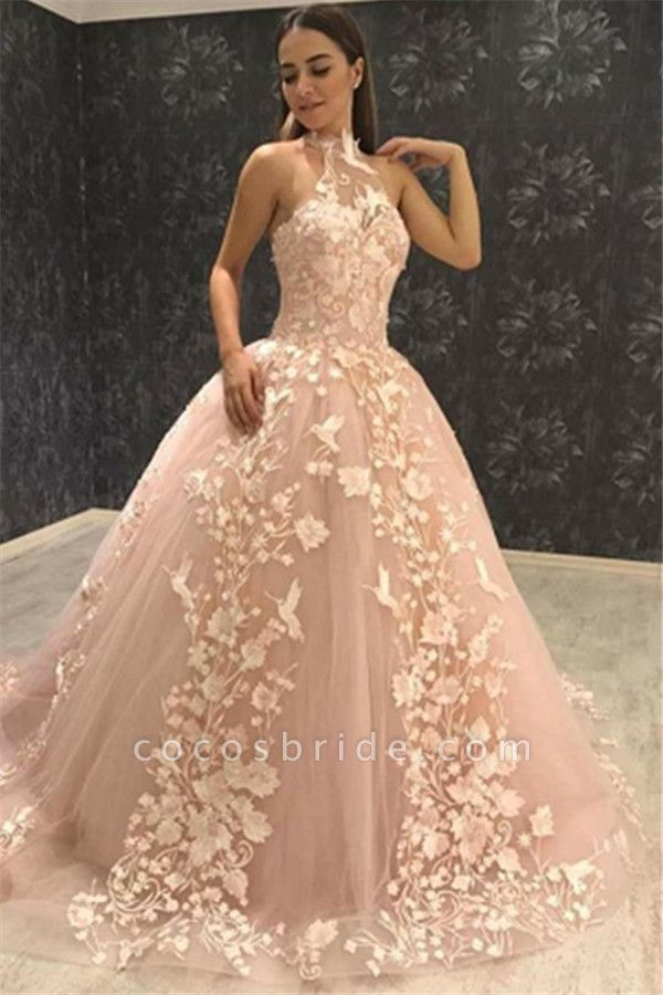 Beautiful Halter Tulle Ball Gown Prom Dress