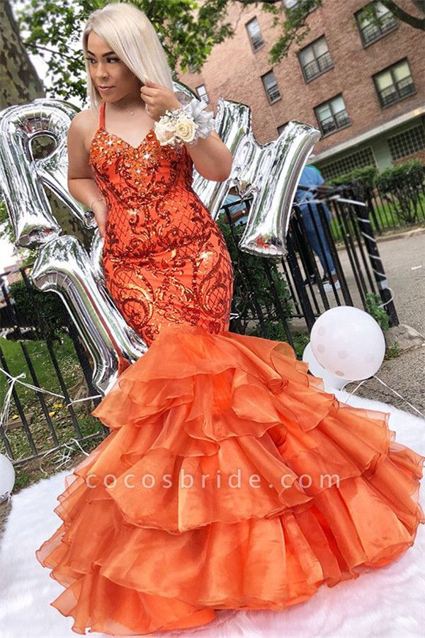 Chic Spaghetti Straps Rhinestone Mermaid Prom Dress