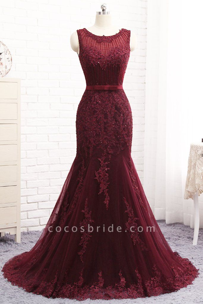 Attractive Scoop Tulle Mermaid Prom Dress