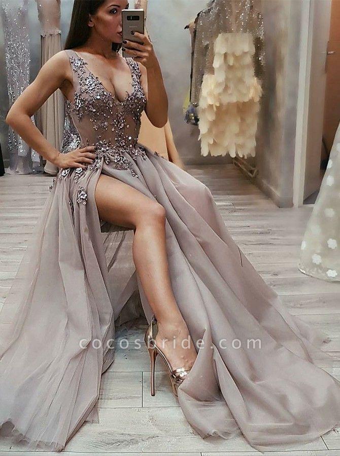 Fascinating Straps Split Front A-line Prom Dress
