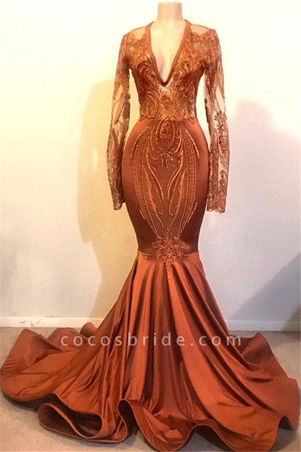 Glorious V-neck Appliques Mermaid Prom Dress