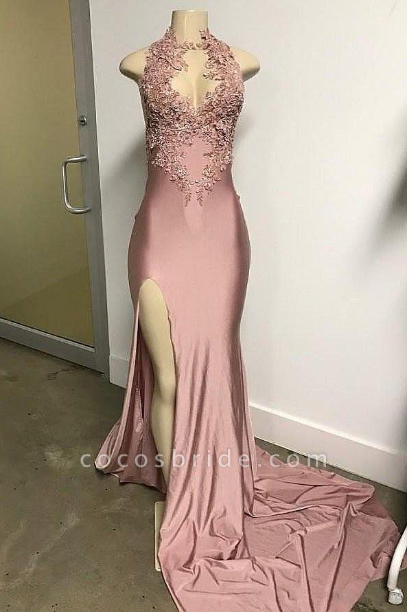 Pink Sleeveless Front Slit Appliqued Long Mermaid Prom Dresses